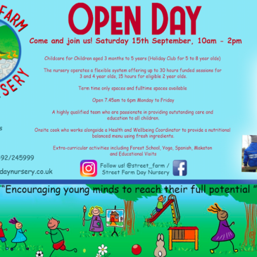Open Day, Saturday 15th September 10am – 2pm